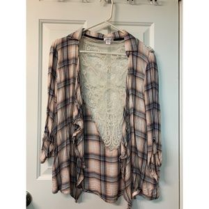 Flannel lace back cardigan